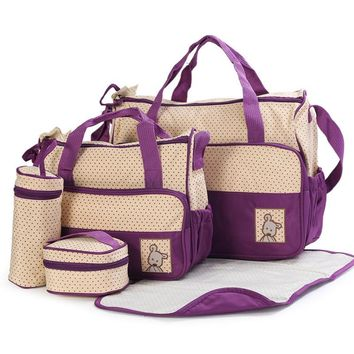 New High-quality 5 each set hand bags Diaper Nappy Durable Bag Mummy Bag Baby Bags for Mom 8 Color