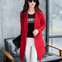 Long-Sleeve None Button Trench Coat