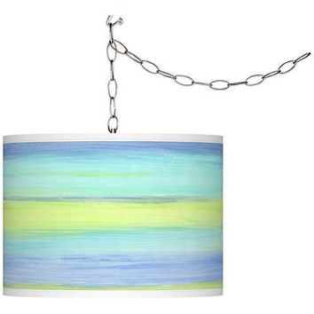 Sea Surf Blue Swag Plug-In Pendant Chandelier
