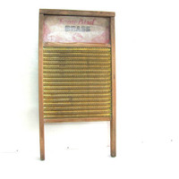 vintage Antique Washboard, Home Snow Bird Brass // old primitive wooden wall hanging
