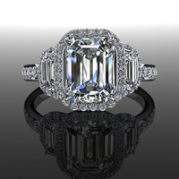 Forever Brilliant Moissanite and Diamond Halo Three Stone Engagement Ring 2.77 CTW