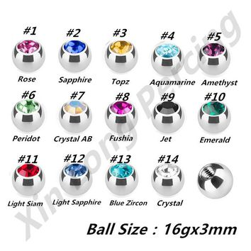Mixed 14 Color Gem 316L Surgical Steel Press Fit 1.2*3mm Threaded Ball Eyebrow Labret Nose Ring Replacement Parts Body Jewelry