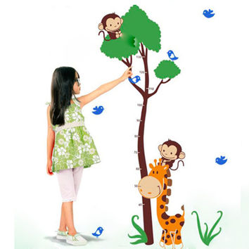 Sunny Jungle Height Chart Vinyl Wall Stickers - Waterproof, Environmentally Safe