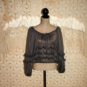 Sheer Peasant Top Gypsy Clothing Ruffle Blouse Dark Gray Salsa Off Shoulder Blouse Long Sleeve Puffy Shirt Medium Womens Clothing
