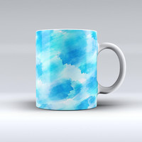 The Abstract Blue Stroked Watercolour ink-Fuzed Ceramic Coffee Mug