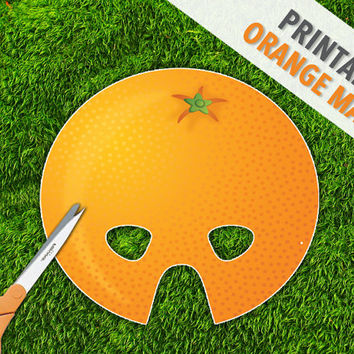 Orange Printable Party Mask | Citrus Fruit Mask | Inexpensive Play Props