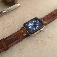 Leather Watch Band for Apple iwatch - Wood Grain Color