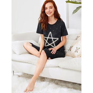 Star Print Top & Pants PJ Set NAVY