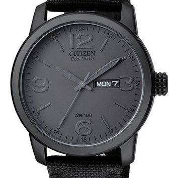 Citizen Eco-Drive All Black Canvas Strap Watch - Day/Date - 100 Meters