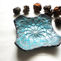 Turquoise Ring Dish, Multifunctional Small Pottery Dish, Country Style Crochet Impressed Ceramic Plate