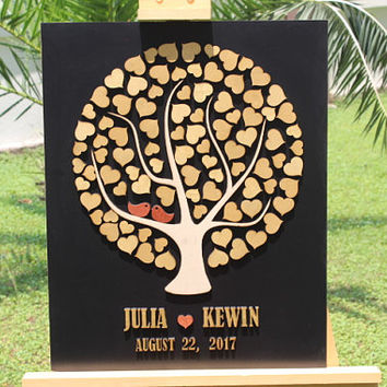 Black & Gold Wedding Guest Book -FAST Shipping 3D wedding guest book , Tree Hearts Wedding guest book alternative Custom wedding guestbook