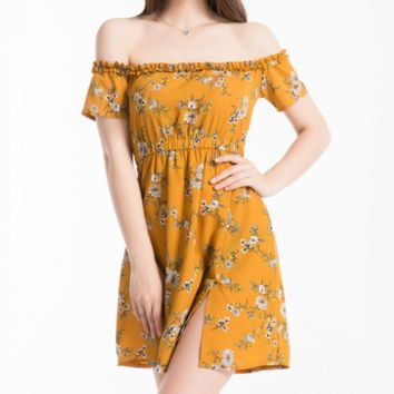 Fashion New Floral Print Strapless Short Sleeve Dress Yellow
