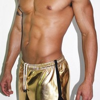 Gold Metallic Running Shorts- Gold