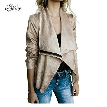 2017 High Street Ladies Faux Suede Basic Jackets Zipper Lapel Slim Coats Casual Solid Women Leather Bomber Jacket Oversocats New