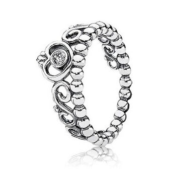 925 Sterling Silver Zirconia Crown Ring
