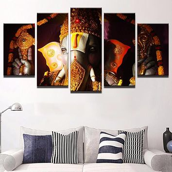 5 Pieces Canvas Ganesha Wall Art Living Room Home Decor