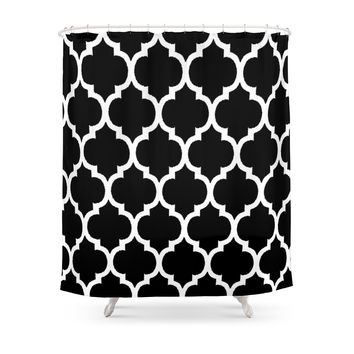 Society6 Morocan Black And White Lattice Moroccan Pattern Shower Curtains