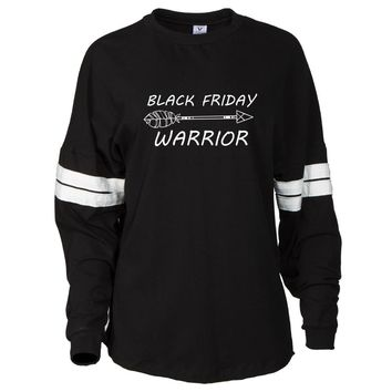 Warrior Black Friday Women's Oversized Football Tee with Stripes
