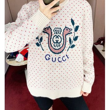 GUCCI Fashion Women Casual Embroidery Knit Long Sleeve Cute Sweater Sweatshirt Top