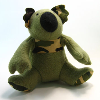Marty the Camouflage Koala, stuffed animal, small, black, green
