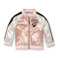 Toddler Girls Long Raglan Sleeve Patch Bomber Jacket | The Children's Place