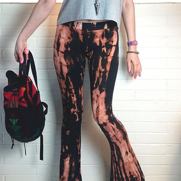 Black Yoga Flare Leggings Pants Festival Coachella Fashion bells gypsy beach boho tie dye shibori