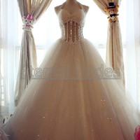 Halter Neckline Sheer Waist with beaded Tulle Ball Gown Dress