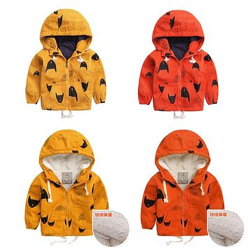 2017 New Boy Girls Hooded Jackets Cartoon Monster Print Outwear Children Sport Coats Kids Blouson Garcon Baby Clothes CYB349