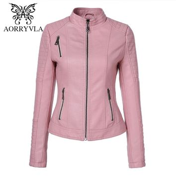 AORRYVLA New Women Leathers Brands Motorcycle Washed PU Leather Short Length Zipper Motorcycle Ladies Basic Jacket