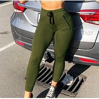 New fashion solid color leisure running pants women Army Green