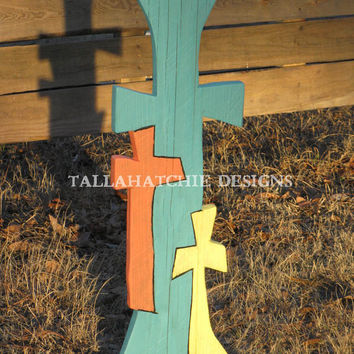 "Wood Cross in Cypress of our ""Three On Calvary"" Collection, Handmade Cross of Distinction,"