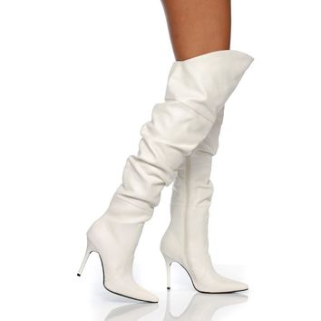 """4"""" Thigh High Scrunch Boot On Our Classic Pump Construction"""