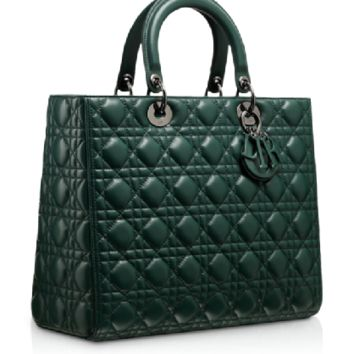 """LADY DIOR Large Vert Anglais leather """"Lady Dior"""" bag, leather-covered charms"""