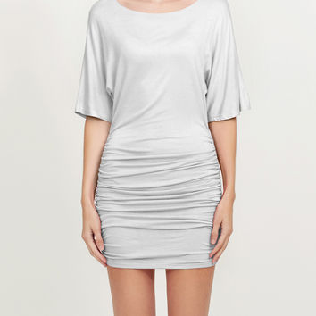 Stretchy Batwing Sleeve Scoop Neck Ruched Bodycon Night Cocktail Dress (CLEARANCE)