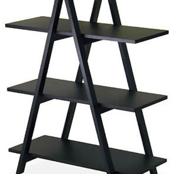 "A-Frame Shelving Unit - For Books, CDs, DVDs ... (Black) (38.3""H x 30.1""W x 15.2""D)"