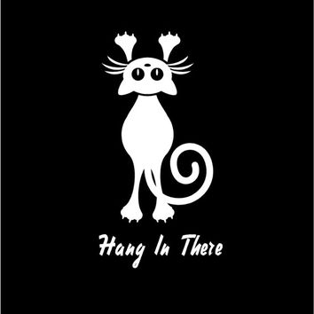 Cat Decal Hang In There Decal Hang On For The Ride Vinyl Decal Sticker Custom Car Vehicle Auto Decal Cat Decals