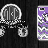 Purple Monogram Iphone 6 Case Chevron iPhone 4 4S 5 5S 5C Case Zig Zag Personalized Cover ipod Touch Cover