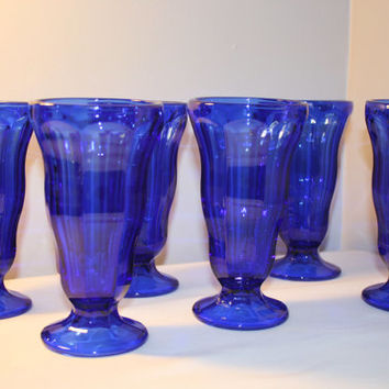 Set of Six Cobalt Blue Sundae Cups, Footed Ice Ceam Dish, Parfait Cup, Soda Fountain Cups