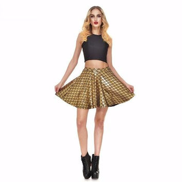 Gold Mermaid Print Skater Skirt