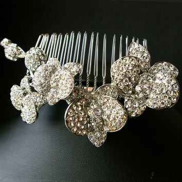 Rhinestone Hair Comb Vintage Bridal Tiara Comb by luxedeluxe