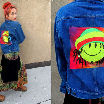 Denim Grunge Rasta Stoner SMILEY FACE Tie Dye Jean Jacket