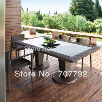 all weather Outdoor PE rattan Dining Table and Chairs