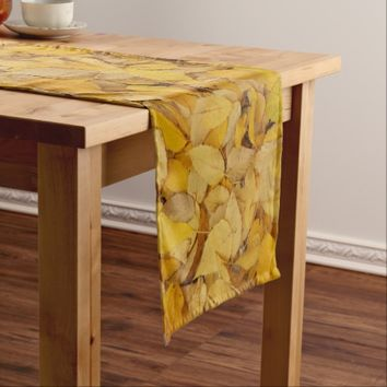 Golden Leaves Floral Short Table Runner