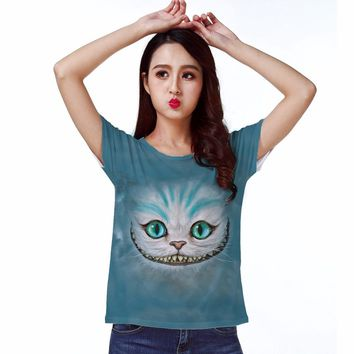 Track Ship+Hot T-shirt Top Tee Blue Smile Ghost Cheshire Cat Cartoon Alice Alice's Adventure in Wonderland