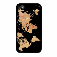 World Map On Wood Texture Print iPhone 4 Case