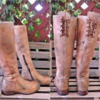 90s Bed Stu boots 8.5 / Riding Boots / Handcrafted  Hand finished/ Knee High / Tall Distressed Leather boots / Boho / Equestrian