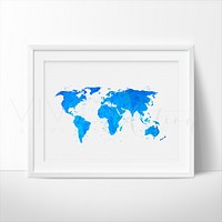 World Map, Blue Watercolor Art Print