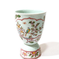 Adams China Double Egg Cup  Light Green Singapore Bird Pattern  Art Deco 1920s  Asian Inspired  Multi Color Floral  Vintage English China