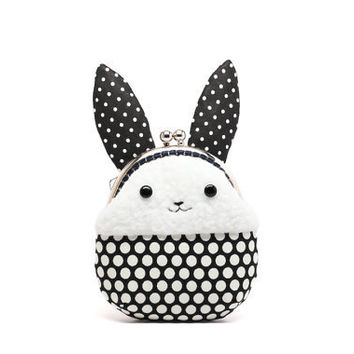 Little white rabbit plush mini pouch