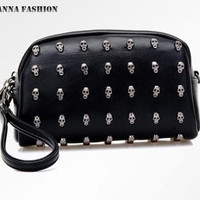 New arrival hot! 2015 leather purse cross-body rivet bag women day clutch small bags wallet bags skull rivet bag